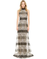 Rodarte Stripe Lace Gown - Nude Black Off White - Lyst