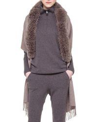 Akris - Alpaca-Fur-Collar Cashmere Wrap - Lyst