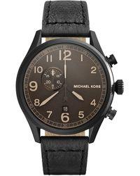 Michael Kors Oversize Black Leather Hangar Threehand Watch - Lyst