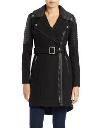 BCBGeneration - Faux Leather Trim Belted Coat - Lyst
