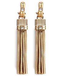 Lanvin Crystal Stud Snakechain Fringe Earrings - Lyst