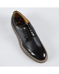 Paul Smith Black High-Shine Leather 'Grand' Brogues - Lyst