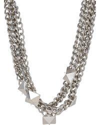 Fallon Pyramid-Stud Multi-Strand Necklace silver - Lyst