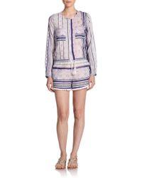 Twelfth Street Cynthia Vincent Printed Cotton & Silk Short Jumpsuit - Lyst
