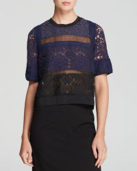 Rebecca Taylor Top - Short Sleeve Patch Lace Silk - Lyst