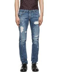 Dolce & Gabbana | Blue Distressed Jeans | Lyst