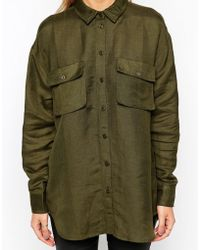 Asos Military Shirt With Pockets - Lyst