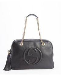 Gucci Black Leather Chain Strap Soho Bag - Lyst