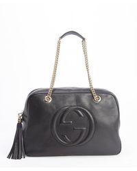 Gucci Black Leather Chain Strap Soho Bag - Lyst