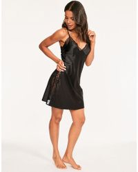 Figleaves - Marilyn Lace Panel Satin Chemise - Lyst
