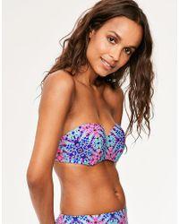 Figleaves - Hawaii Diamond Underwired Bandeau Bikini Top B-d Cup - Lyst