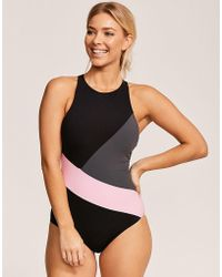 Figleaves - Freestyle Active Non Wired High Neck Swimsuit - Lyst