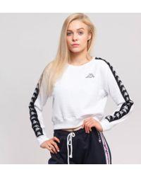Kappa - Women 222 Banda Amay Crew Sweatshirts, White/black - Lyst