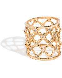 Sophie Ratner - 14k Yellow Gold Lattice Diamond Ring - Lyst