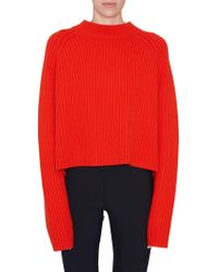 Proenza Schouler - Red Crewneck Sweater With Slits - Lyst