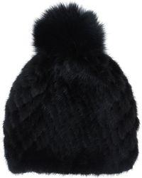 Pologeorgis - Black Pom Pom Fur Hat - Lyst
