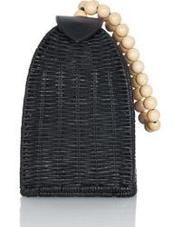 Ulla Johnson Raya Wicker Trapeze Bag - Black