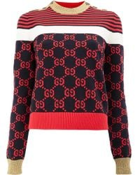 Gucci - Long-sleeve Cotton Stripe Buttoned Sweater - Lyst