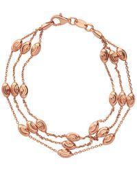 Links of London - Essentials Beaded 18kt Rose Gold 3 Row Bracelet Large - Lyst