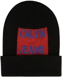 Calvin Klein - Large Patch Logo Beanie Hat - Lyst