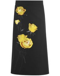 Prada Floral Skirt - Black