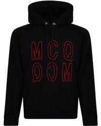 McQ - Velvet Logo Hooded Sweatshirt - Lyst