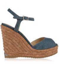 Jimmy Choo - Pearl 120 Suede Wedge Sandals - Lyst