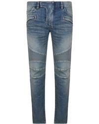 Balmain - Tapered Bleach Biker Jeans - Lyst