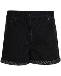 McQ - Leopard Print Denim Shorts - Lyst