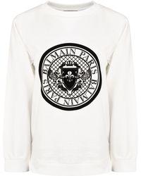 Balmain - Medallion Coin Logo Sweatshirt - Lyst
