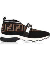 Fendi - Rockoko Logo-jacquard Stretch-knit And Mesh Slip-on Trainers - Lyst