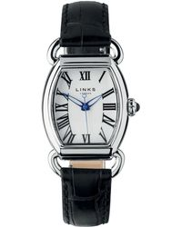 Links of London - Driver Elipse Womens Stainless Steel Black Leather Watch - Lyst
