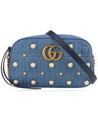 a8319487f132 Gucci - Marmont Matelasse Denim Shoulder Bag - Lyst. Gucci - GG Marmont  Small ...