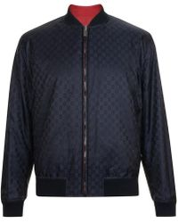 40120476c Gucci Stamp-print Satin Bomber Jacket for Men - Lyst
