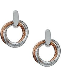 Links of London - Aurora Cluster Sterling Silver And 18kt Rose Gold Vermeil Hoop Earrings - Lyst