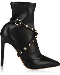 Valentino - Wrap Rockstud Heeled Boots - Lyst