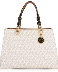 6e1da050063b Michael Michael Kors Cynthia Small Textured-leather Tote in Pink - Lyst