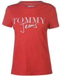 05afdc53 Tommy Hilfiger Rainbow Script Logo Oversized T-shirt in White - Lyst