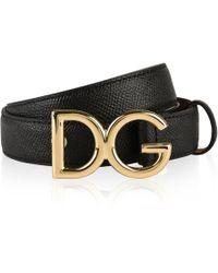 Dolce & Gabbana - Logo Grained Leather Belt - Lyst
