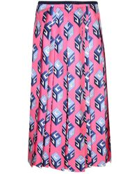 Gucci - Gg Wallpaper Print Silk Skirt - Lyst