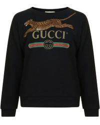 Gucci - Fake Logo Feline Sweatshirt - Lyst