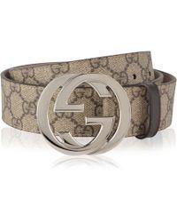 6fc530615fe Lyst - Gucci Bengal Gg Supreme Belt in Natural