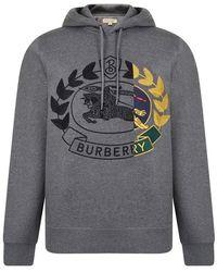 Burberry - Crest Hooded Sweatshirt - Lyst