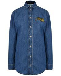 5ef3c1a2 Lyst - KENZO Drawstring Sleeve Shirt in Blue