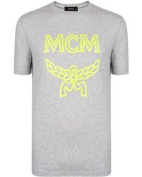 df96e633a MCM Logo T Shirt in White for Men - Lyst