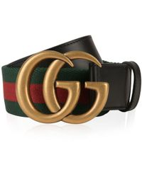 Gucci - Web Leather Belt - Lyst
