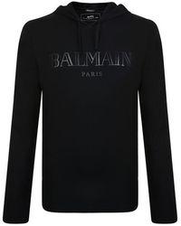 Balmain - Front Logo Hooded Sweatshirt - Lyst