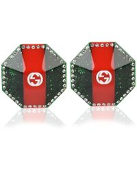 Gucci - Crystal Studded Vintage Web Earrings - Lyst
