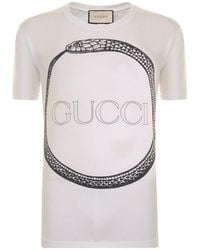 dc3d94248 Gucci Distressed Cotton-jersey T-shirt in White for Men - Lyst