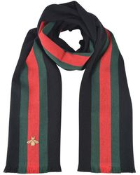bb1dcb29c51727 Lyst - Gucci Stripe Embellished Bee Scarf in Black
